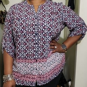 Faded Glory Tops - Printed Button Down Blouse (Size 3X 22W-24W)